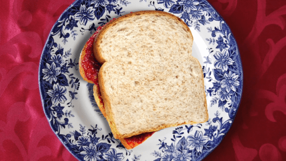 peanut butter sandwich on china plate